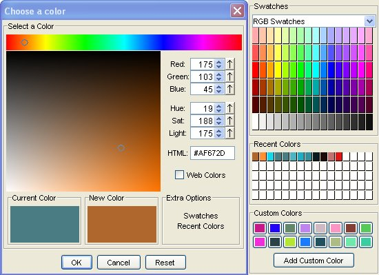 A more professional looking replacement for the JColorChooser component